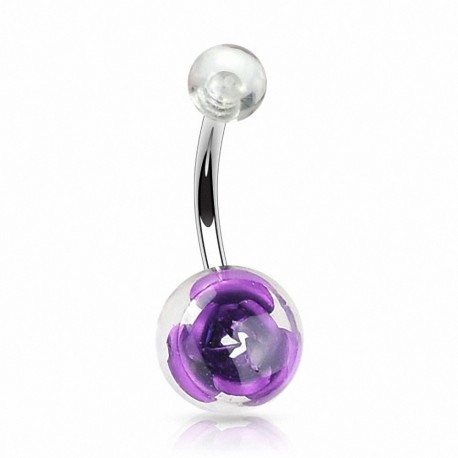 Piercing nombril rose dans une boule acrylique