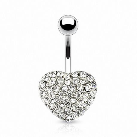 Piercing nombril Coeur Multi Crystal