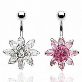 Piercing nombril Acier Chirurgical Fleur Multi Crystal