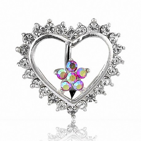 Piercing nombril inversé Coeur et Fleur