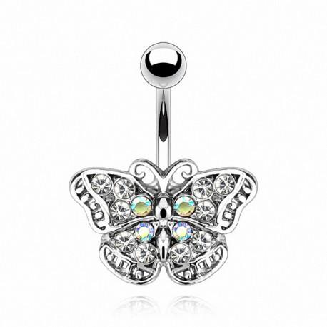 Piercing nombril Acier Papillon Gemmes
