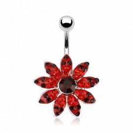 Piercing nombril Fleur Multi Gemmes