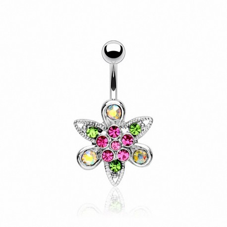 Piercing nombril Acier Chirurgical Fleur Multi Crystal Fantaisie