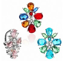 Piercing nombril inversé Grappe Multi Crystaux