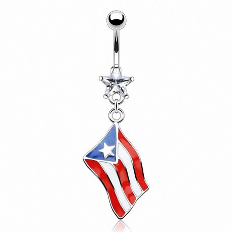 Piercing nombril Pendentif Drapeau Puerto Rico