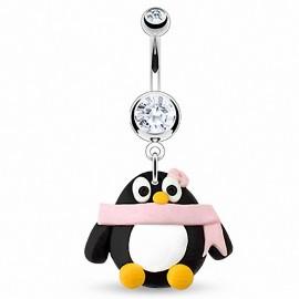 Piercing nombril Pendentif Pingouin Argile Durcie