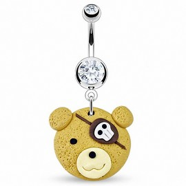 Piercing nombril Pendentif Ourson Pirate Argile Durcie