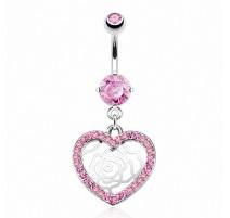 Piercing nombril Pendentif Coeur Fleur et Gemmes