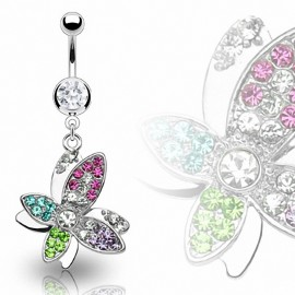 Piercing nombril Papillon Gemmes Multicolores