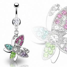 Piercing nombril Papillon Gemmes Multicolores