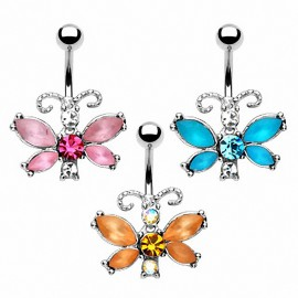 Piercing nombril acier chirurgical Papillon Strass