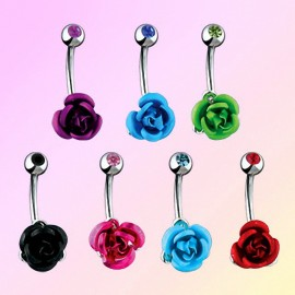 Piercing nombril Rose Métallique