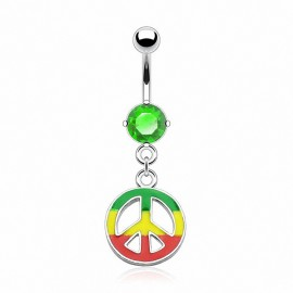 Piercing nombril Pendentif Peace Rasta