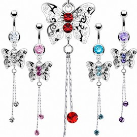 Piercing nombril Papillon Royal Chaine