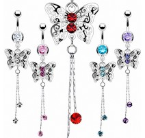 Bijou Piercing nombril Papillon Royal Chaine