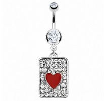 Piercing nombril Acier Chirurgical Carte As de Coeur