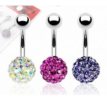 Lot de 3 Piercing nombril Crystal Férido Aurore Boréale Fuchsia Tanzanite