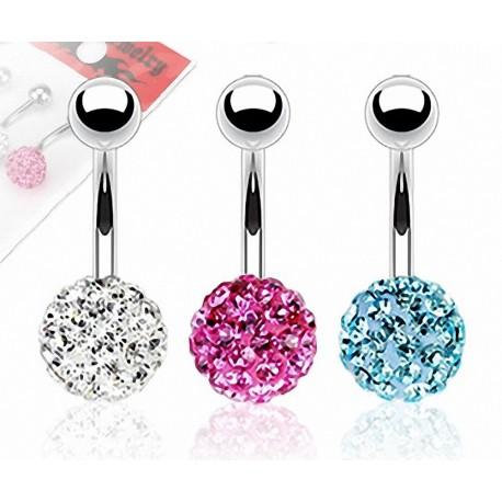 Lot de 3 Piercing nombril Crystal Férido Clair Rose Turquoise