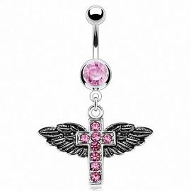 Piercing nombril Croix Ailes d'ange