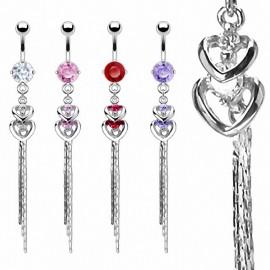 Piercing nombril Double Coeur Chaine
