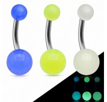Piercing nombril Titane G23 Boules Glow in the Dark