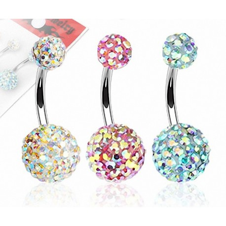 Lot de 3 Piercing nombril Crystal Férido Aurore Boréale