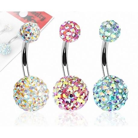 Lot de 3 Piercing nombril Crystal Férido Aurore Boréale