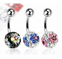 Lot de 3 Piercing nombril Crystal Férido Fleurs