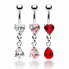 Piercing nombril Strass Coeur et Larme