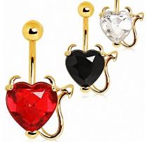 Piercing Nombril Plaqué Or Devil Heart