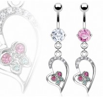 Piercing nombril Coeur Papillon