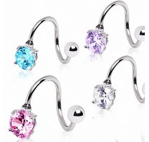 Piercing nombril spirale strass