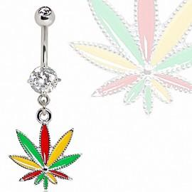Piercing nombril cannabis strass