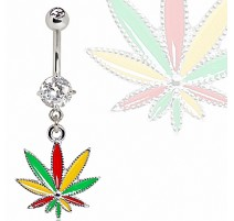 Piercing nombril cannabis strass