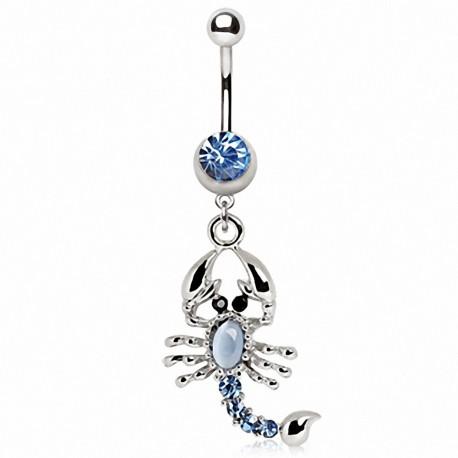 Piercing nombril scorpion bleu