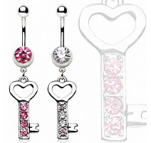 Piercing nombril clef strass