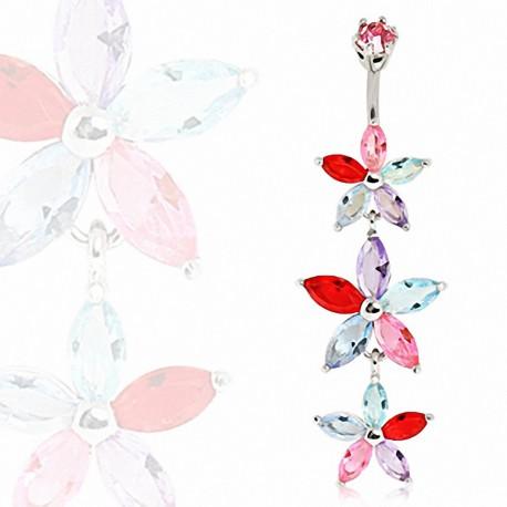 Piercing nombril triple fleur