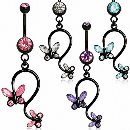 Piercing nombril blackline papillon