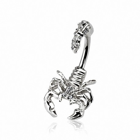 Piercing nombril scorpion strass