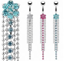 Piercing nombril fleur multi chaines