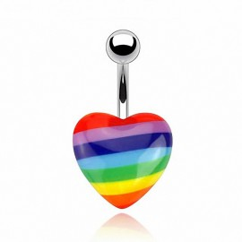 Piercing nombril coeur gay pride