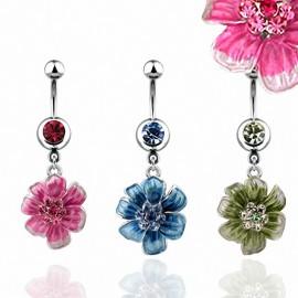 Piercing nombril fleur colorée