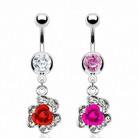 Piercing nombril rose