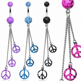 Piercing nombril chaines peace