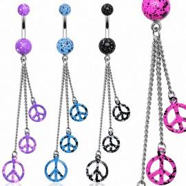 Piercing nombril chaines peace