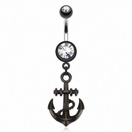 Piercing nombril noir ancre