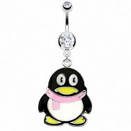 Piercing nombril pingouin écharpe