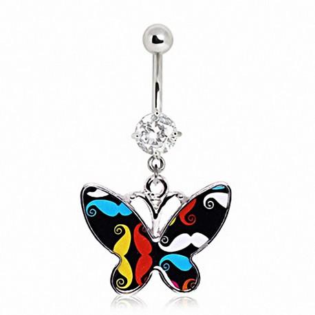Piercing nombril papillon moustache