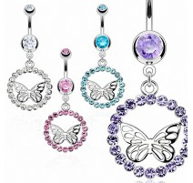 Piercing nombril papillon orbe