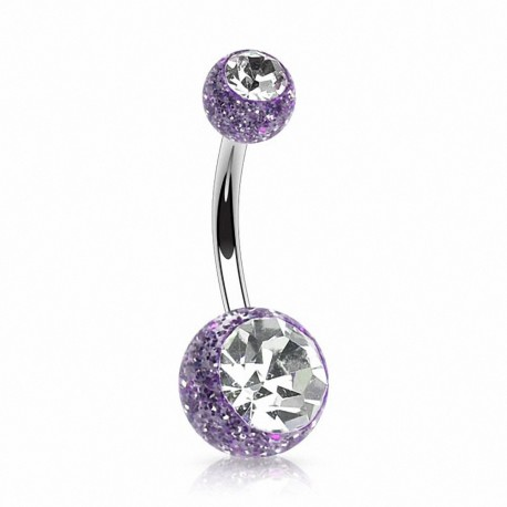 Piercing nombril paillettes strass